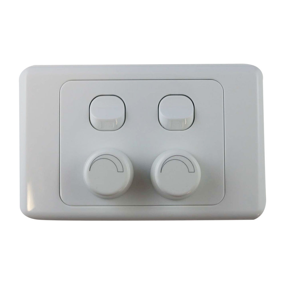 4 gang wall plate with switch led light dimmer universal saa approved. Black Bedroom Furniture Sets. Home Design Ideas
